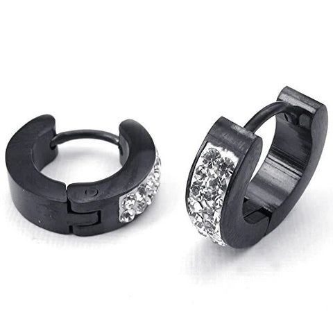 Men's Black Stainless Steel Cubic Zirconia Stud Hoop Earrings Set