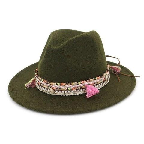 Tassel Cowrie Pendant Hatband Wool Fedora(9 Available Colors)