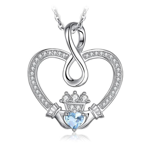 Infinity Claddagh Crystal Pave Sterling Silver Necklace