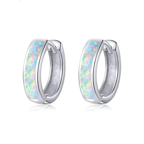 Simulated Fire Opal Inlay Sterling Silver Huggie Earrings