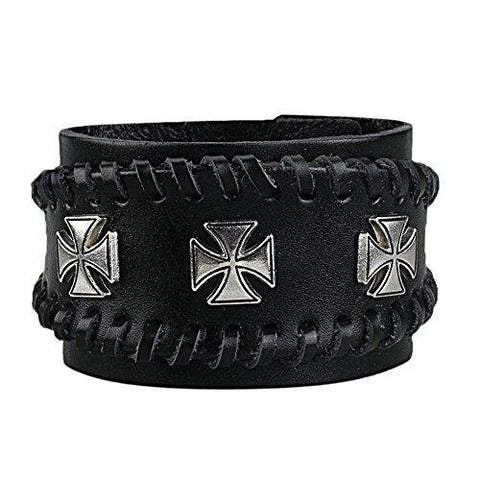 Wide Metal Cross Snap Button Genuine Leather Cuff Bracelet