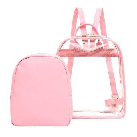 Charming Clear Mini Backpack with Matching Colored Pouc