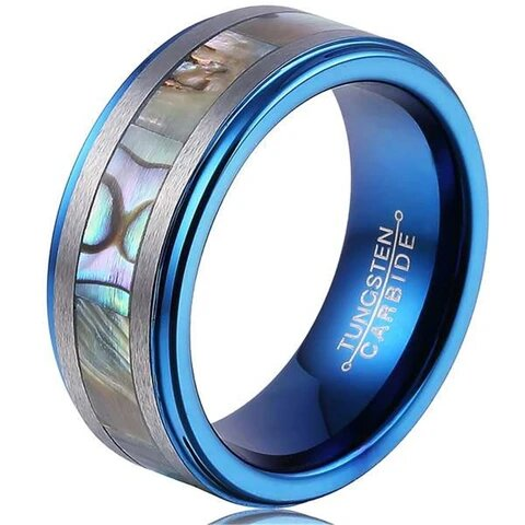 Blue Tungsten Carbide with Abalone Shell Inlay Matte Finish Ring