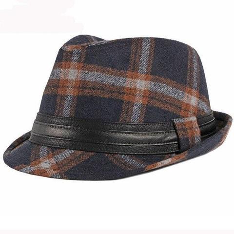 Black Leather Hatband Two-tone Plaid Hat (2 Available Colors)