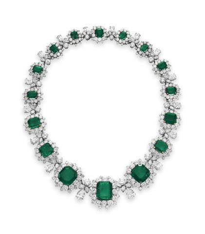 An Emerald and Diamond Necklace by Bulgari