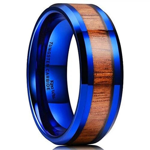 Blue Tungsten Carbide Wood Inlay Beveled Edge Wedding Ring