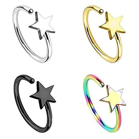 4 Piece Set Stainless Steel Body Jewelry Nose Hoop Ring