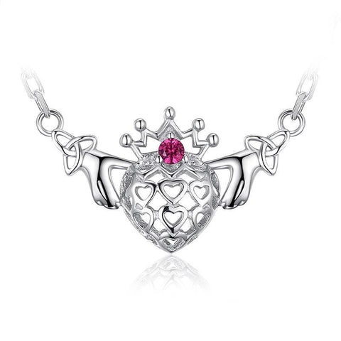 Claddagh Heart Celtic Knot 925 Sterling Silver Necklace