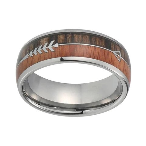 Silver Tungsten with Natural and Dark Koa Wood Arrow Design Ring