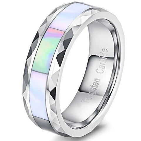 Vintage Tungsten with Rhombus Edge and Abalone Shell Wedding Band