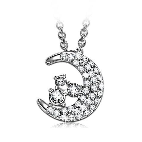 Dazzling Swarovski Moon Pendant Chain Necklace