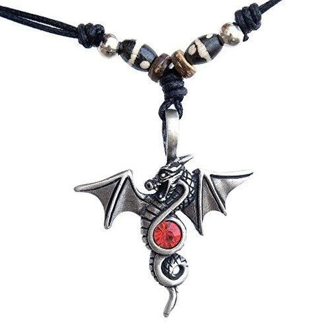 Pagan Red CZ Winged Dragon Pewter Pendant Black Cord Necklace