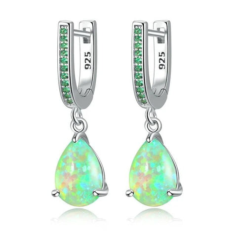 Green Opal Crystal Drop Sterling Silver Earrings