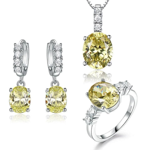 3PC Simulated Citrine Sterling Silver Bridal Set