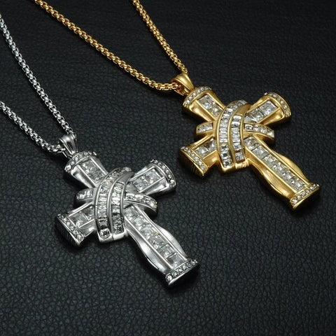 Gold & Silver Plated Hip Hop Stainless Steel Cross Pendant with Cubic Zirconia Necklace