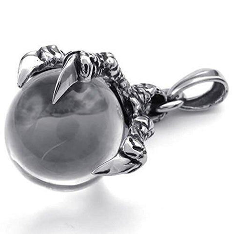 Stainless Steel Dragon Claw Ball Pendant Necklace
