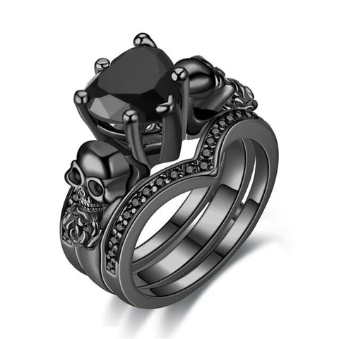 3PC Set Vintage Heart-Shaped Colored CZ Black Skull Ring