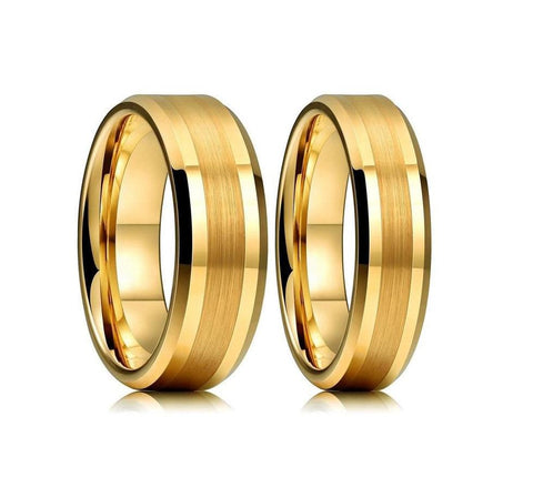 Brushed Center Gold Plated Tungsten Carbide Wedding Ring Set