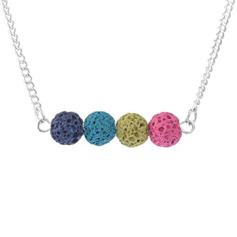 Multicolor Stone Lava Bead Horizontal Essential Oil Diffuser Necklace