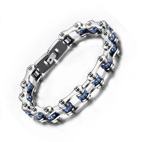Titanium Chain Bracelet with Light Blue Crystals