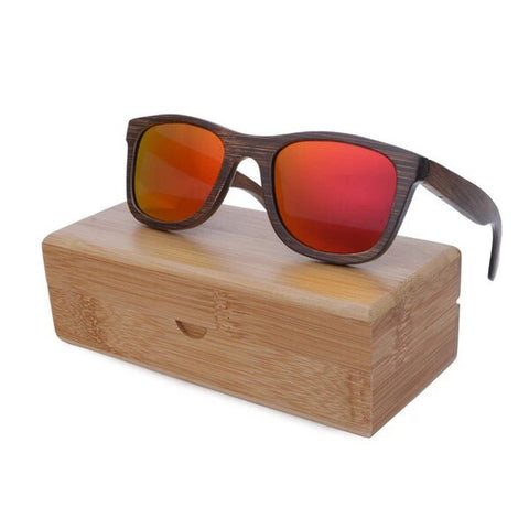 Real Red Lens Bamboo Sunglasses