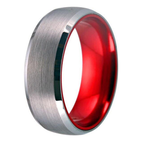 Soft Brushed Silver & Red Tungsten Wedding Band