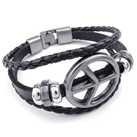 Stainless Peace Sign Triple Band Leather Bracelet