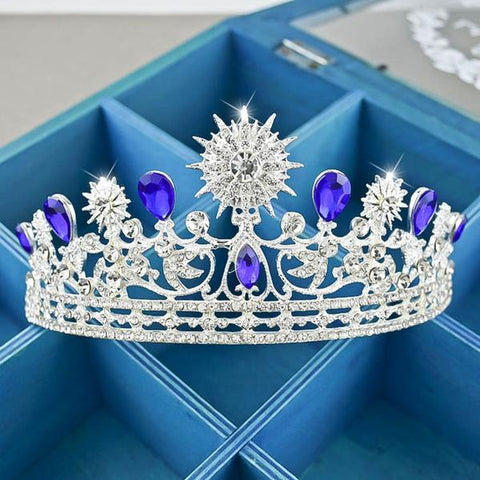 Royal Blue and Silver Crystal Bride Crown