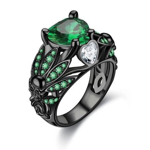 Black Stainless Skull Chief Heart and Feather Encrusted Zirconia Ring