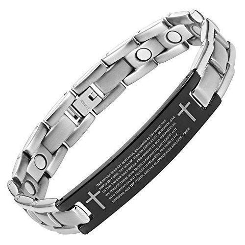 Black & Silver Lord's Prayer Magnetic Therapy Bracelet