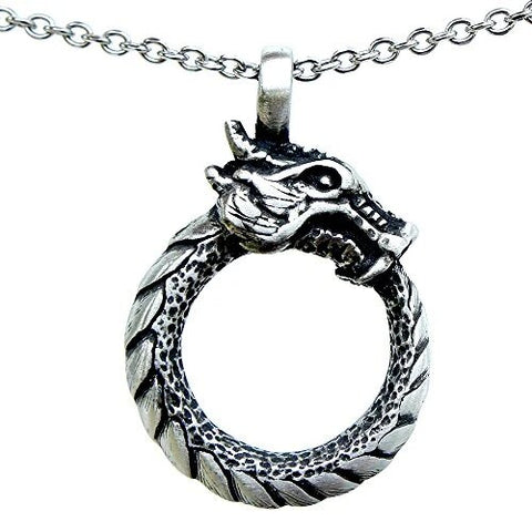 Infinity Dragon Ouroboros Serpent Pendant Stainless Steel Necklace
