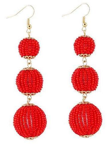 Chinese Lantern Bead Ball Dangle Earrings