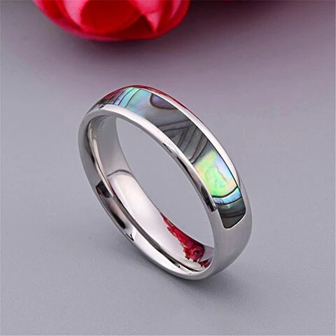 Silver Plated Stainless Steel with Shell Inlay Ring