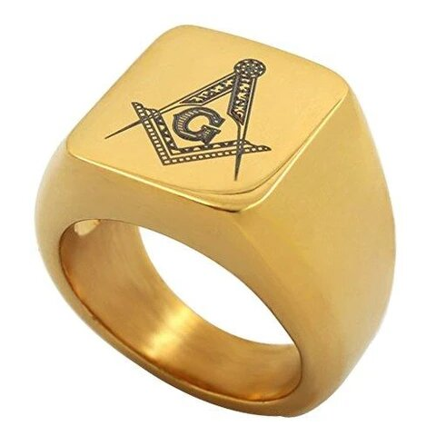 18K Gold Plated Stainless Steel with Engraved Masonic Logo