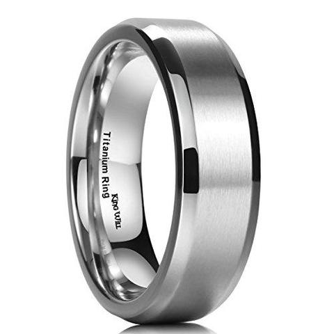Classic Stainless Steel Brushed Titanium Wedding Band For Men