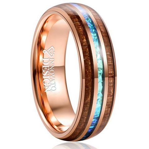 Brown Wood Blue Opal Rose-Gold Tungsten Carbide Ring
