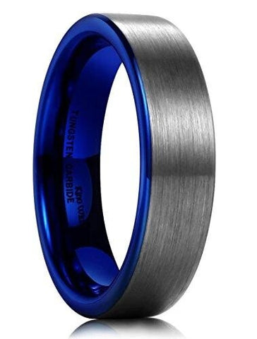 Flat Blue Tungsten Carbide Matte Brushed Wedding Band