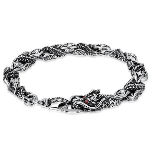 3D Chinese Dragon Scale Sterling Silver Link Bracelet