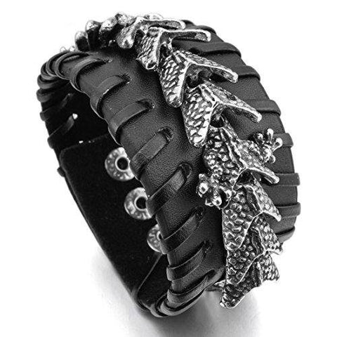 Black Dragon Alloy Genuine Leather Cuff Bracelet