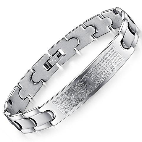Stainless Steel Engraved Latin Lord's Prayer Bracelet