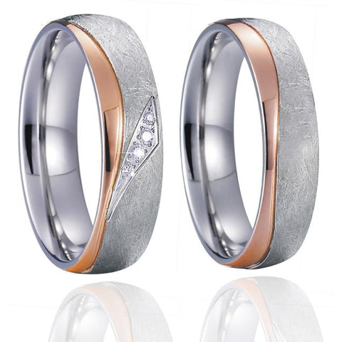 2PC Rose Gold & Silver Stone Washed Stainless Steel Wedding Band