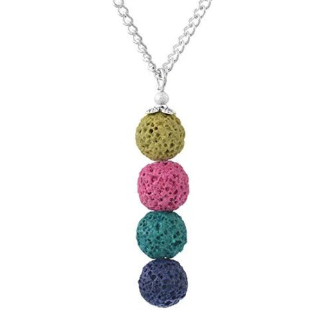 Multicolor Stone Lava Bead Vertical Aromatherapy Diffuser Necklace