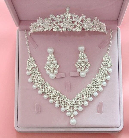 Stainless Wire Pearl Crystal Floral Bridal Tiara Set