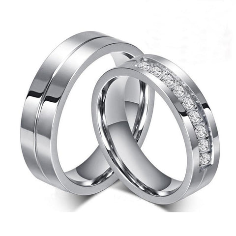 Stainless Steel Center Groove Crystal Pave Wedding Ring Set