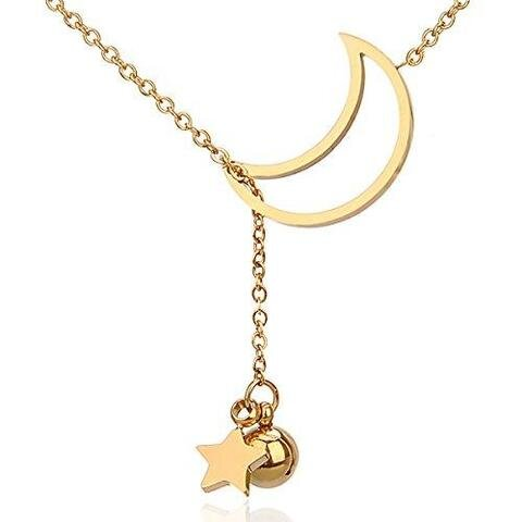 Star Moon Delicate Gold Pendant Necklace
