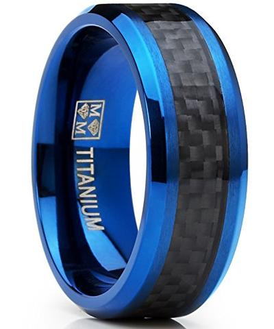 Men's Blue Black Carbon Fiber Titanium Wedding Band