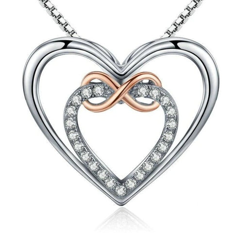 Rose Gold Infinity Open Heart Crystal Sterling Silver Necklace