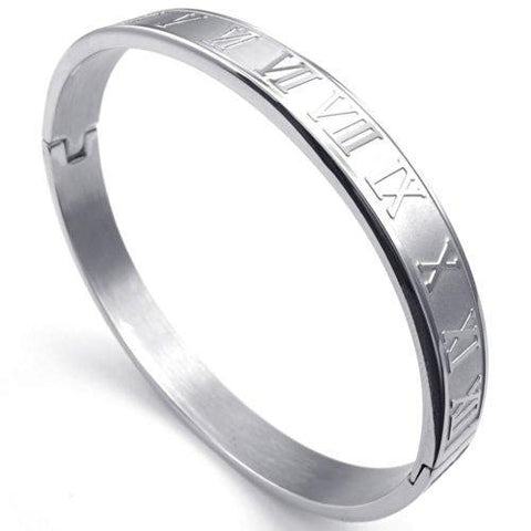 Silver Ton Roman Numeral Stainless Bangle