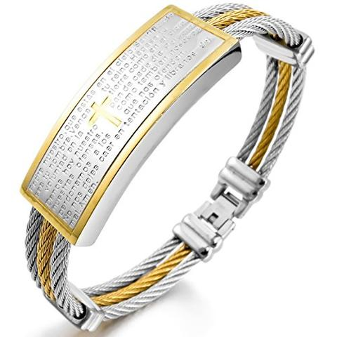 Stainless Steel Silver Gold Tone Rope Cable Cross Lord's Prayer Bracelet