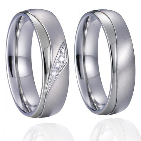 2PC Dual Polished Crystal Flushed Silver Tone Stainless Steel Rings Set